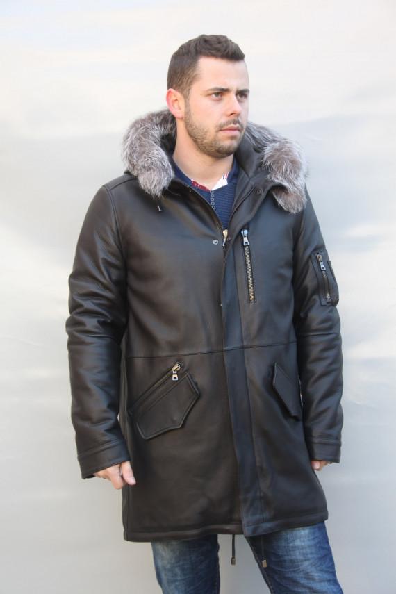 veste longue cuir cerf homme: bernard