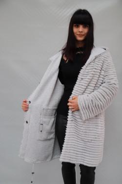 veste longue réversible fourrure & lainage femme : RIODOS