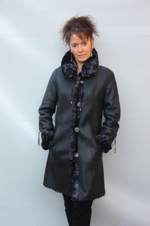 veste longue peau lainée réversible femme : blanca 2
