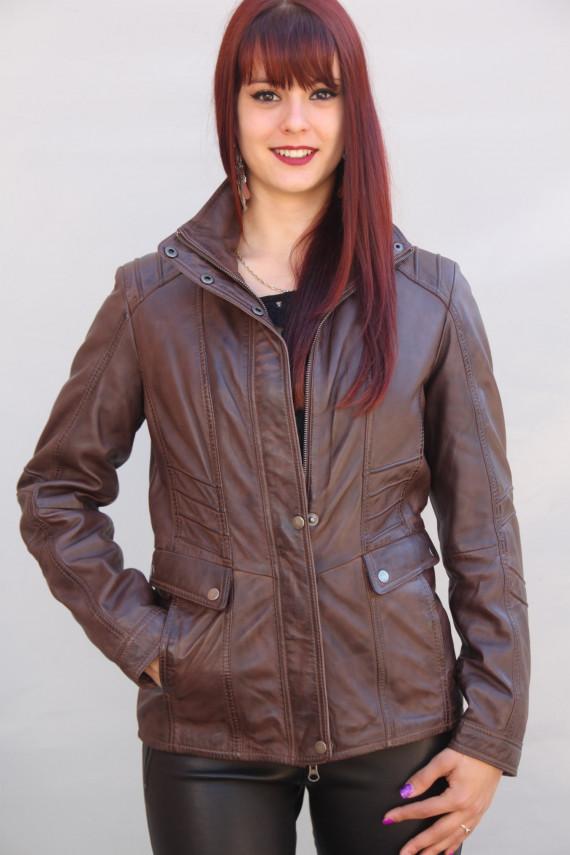 veste courte cuir femme : nicole