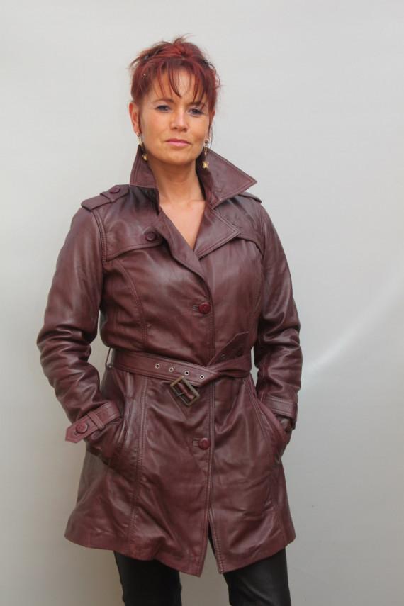 veste longue trench cuir femme : lago