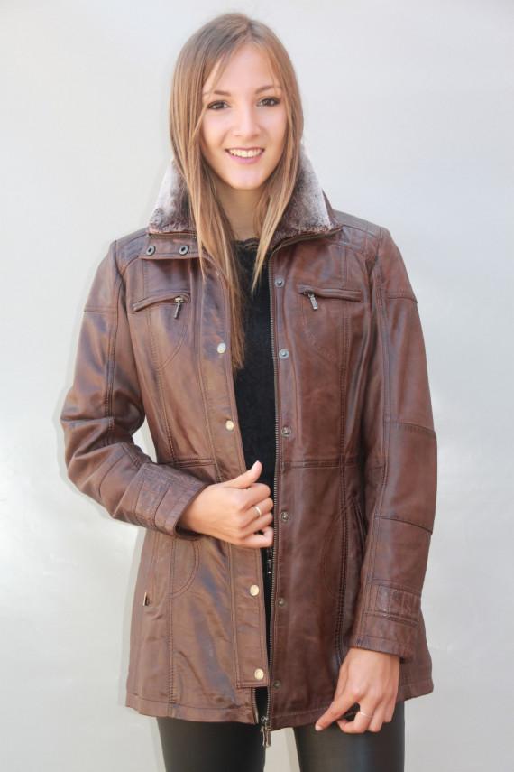 veste parka cuir femme : luisanne