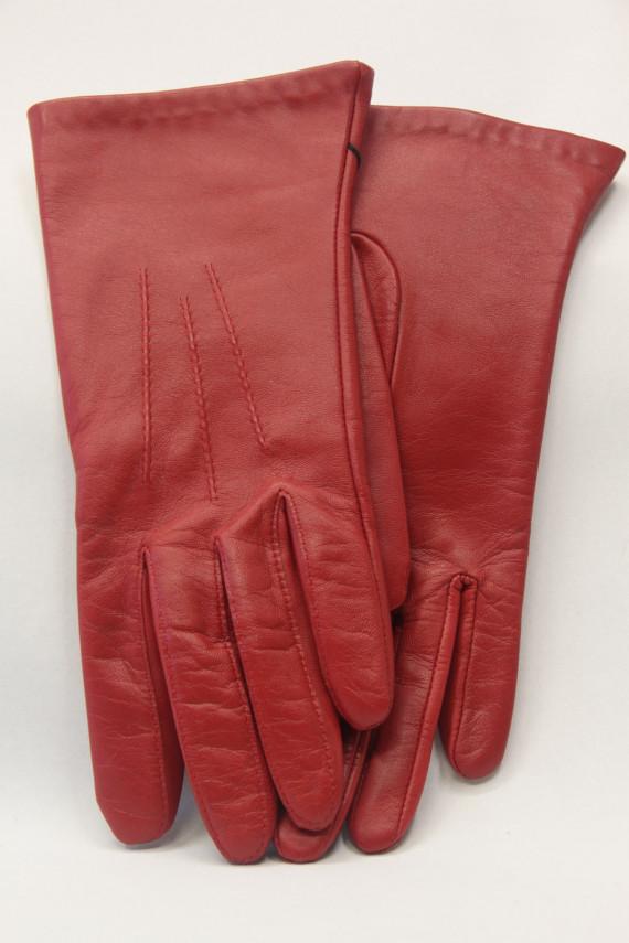Gant cuir femme  rouge. 61026