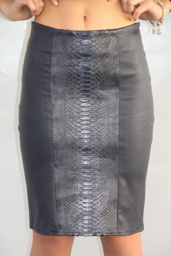 jupe cuir stretch et python femme : pacome