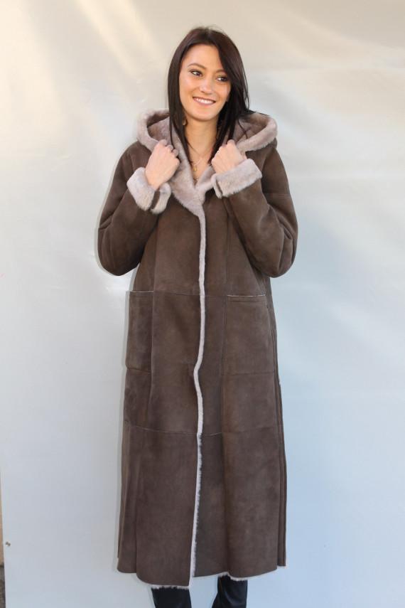 manteau peau lainée  femme : linda