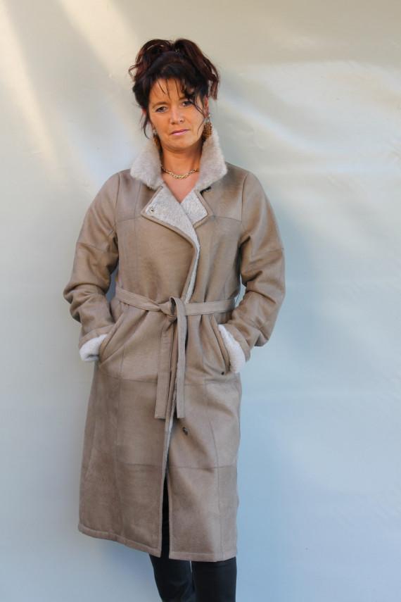 Veste longue peau lainée femme : lilly
