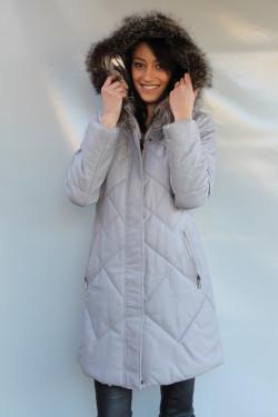 veste longue doudoune cuir femme : jana