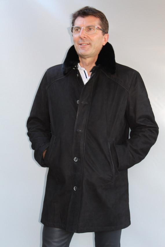 check-out 4556a f2ffd veste longue cuir et fourrure homme : 911617