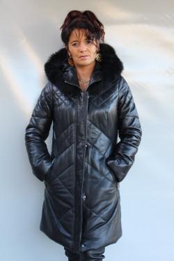 veste longue doudoune cuir femme : jana.n